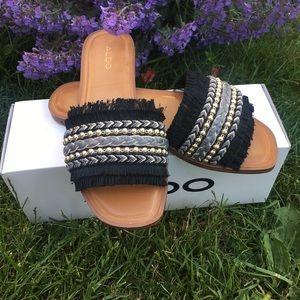 ALDO BNWT flat layered fringe sandals